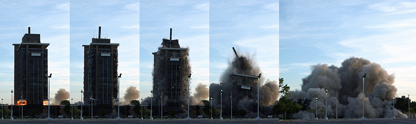 Bank Implosion Progression - building implosion sound effects