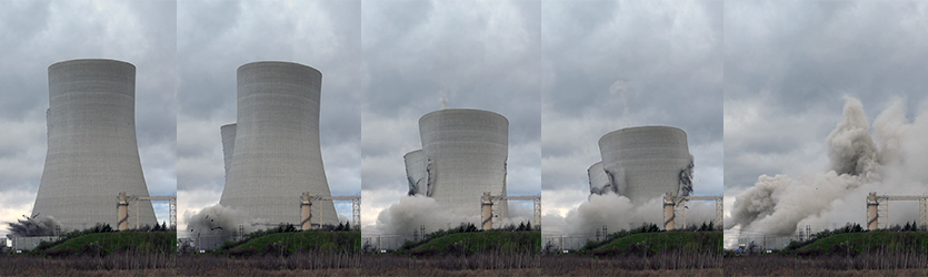 Cooling Tower Implosion Progress - building implosion sound effects
