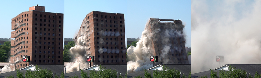 Dormitory Implosion Progression - building implosion sound effects