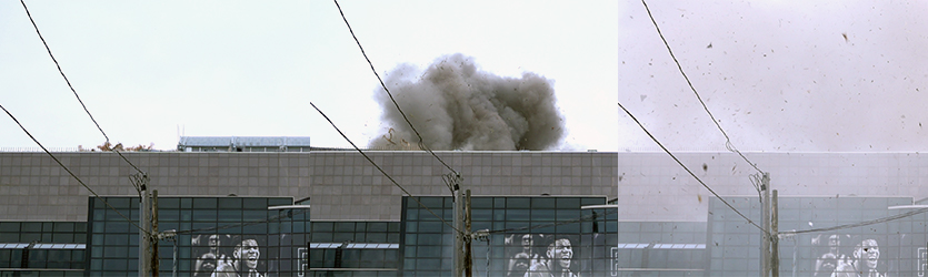 Stadium Roof Implosion Progression - building implosion sound effects